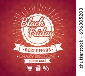 black friday red label  | Shutterstock . vector #696305203