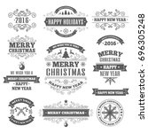 merry christmas color labels... | Shutterstock . vector #696305248