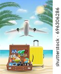 air plane flying to sea with... | Shutterstock .eps vector #696306286