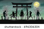 samurai attack zombie with... | Shutterstock .eps vector #696306304