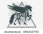 horse silhouette with wings ... | Shutterstock .eps vector #696310753