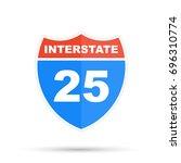 interstate highway 25 road sign | Shutterstock . vector #696310774