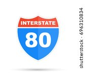 interstate highway 80 road sign | Shutterstock . vector #696310834