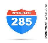 interstate highway 285 road sign | Shutterstock . vector #696310840