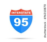 interstate highway 95 road sign | Shutterstock . vector #696310870