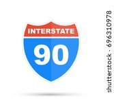 interstate highway 90 road sign | Shutterstock . vector #696310978