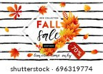 autumn sale flyer template with ... | Shutterstock .eps vector #696319774