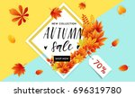 autumn sale flyer template with ... | Shutterstock .eps vector #696319780
