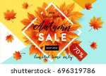 autumn sale flyer template with ... | Shutterstock .eps vector #696319786