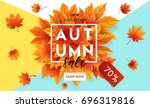 autumn sale flyer template with ... | Shutterstock .eps vector #696319816
