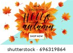 autumn sale flyer template with ...   Shutterstock .eps vector #696319864