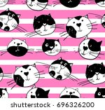 seamless  pattern hand drawn ... | Shutterstock .eps vector #696326200