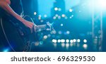 guitarist on stage for... | Shutterstock . vector #696329530