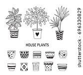 set of doodle plants with empty ... | Shutterstock .eps vector #696330829