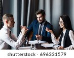 successful team leader and... | Shutterstock . vector #696331579