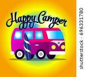 happy camper bus cartoon | Shutterstock .eps vector #696331780