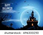 halloween background with... | Shutterstock . vector #696333250