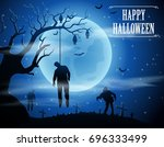halloween background with... | Shutterstock .eps vector #696333499