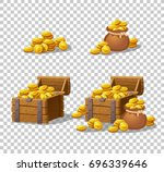 wooden chest set for game... | Shutterstock .eps vector #696339646