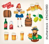 set of beer festival elements... | Shutterstock .eps vector #696340480