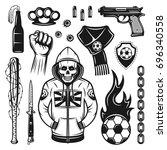 football or soccer hooligans... | Shutterstock .eps vector #696340558