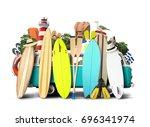 blue van c surfboards and... | Shutterstock . vector #696341974