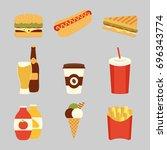 fast food set. potatoes fries ...   Shutterstock .eps vector #696343774