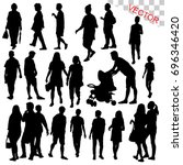people walking outdoor... | Shutterstock .eps vector #696346420