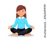 business woman meditating in... | Shutterstock .eps vector #696349999