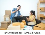 young asian people working at... | Shutterstock . vector #696357286
