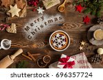 words merry christmas on flour  ... | Shutterstock . vector #696357724