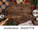 preparation for christmas... | Shutterstock . vector #696357778