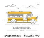 back to school. yellow bus.... | Shutterstock .eps vector #696363799