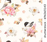 seamless pattern with flower... | Shutterstock .eps vector #696365143