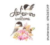 autumn card with birds black... | Shutterstock .eps vector #696365149