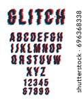 vector distorted glitch font.... | Shutterstock .eps vector #696368338