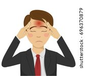 young businessman with headache ... | Shutterstock .eps vector #696370879