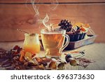 tea with honey and spices ... | Shutterstock . vector #696373630