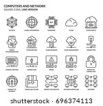 computers and network  square... | Shutterstock .eps vector #696374113