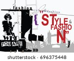 fashion quote with fashion... | Shutterstock . vector #696375448