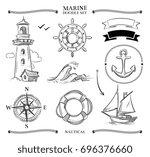 rope frames  boats  marine... | Shutterstock . vector #696376660