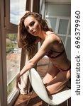 beautiful young blonde girl in... | Shutterstock . vector #696379960