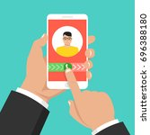 incoming call on smartphone... | Shutterstock .eps vector #696388180