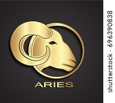 3d golden aries head logo | Shutterstock .eps vector #696390838