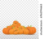 autumn vector orange pumpkins... | Shutterstock .eps vector #696394663