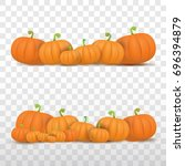 autumn vector orange pumpkins... | Shutterstock .eps vector #696394879