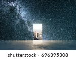 small opening with city view in ... | Shutterstock . vector #696395308
