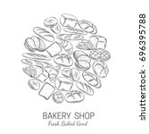 bakery  bread shop poster... | Shutterstock .eps vector #696395788