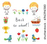 back to school cute background... | Shutterstock .eps vector #696396580