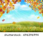 rural hilly landscape in autumn ... | Shutterstock .eps vector #696396994